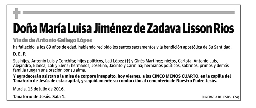 María Luisa Jiménez de Zadava Lisson Rios