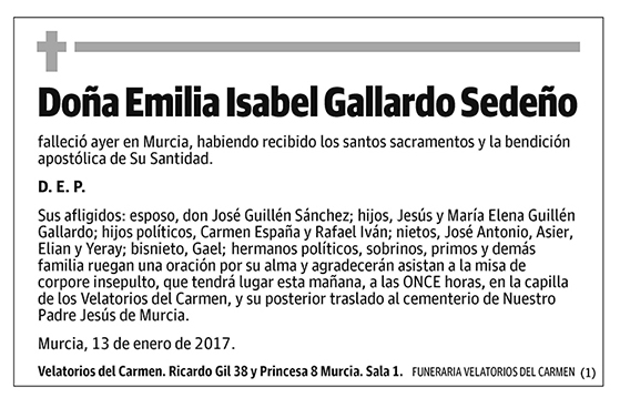 Emilia Isabel Gallardo Sedeño