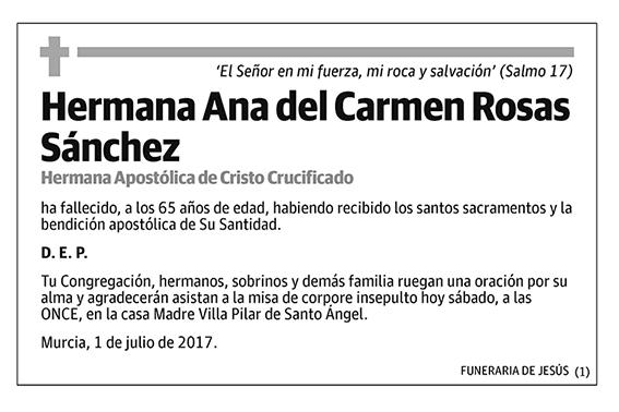 Hermana Ana del Carmen Rosas Sánchez
