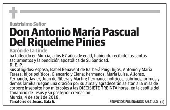 Antonio María Pascual Del Riquelme Pinies