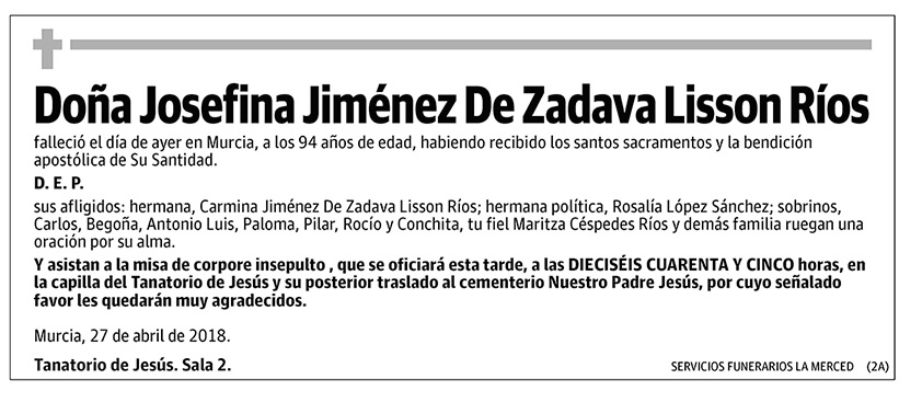Josefina Jiménez De Zadava Lisson Ríos