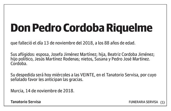 Pedro Córdoba Riquelme