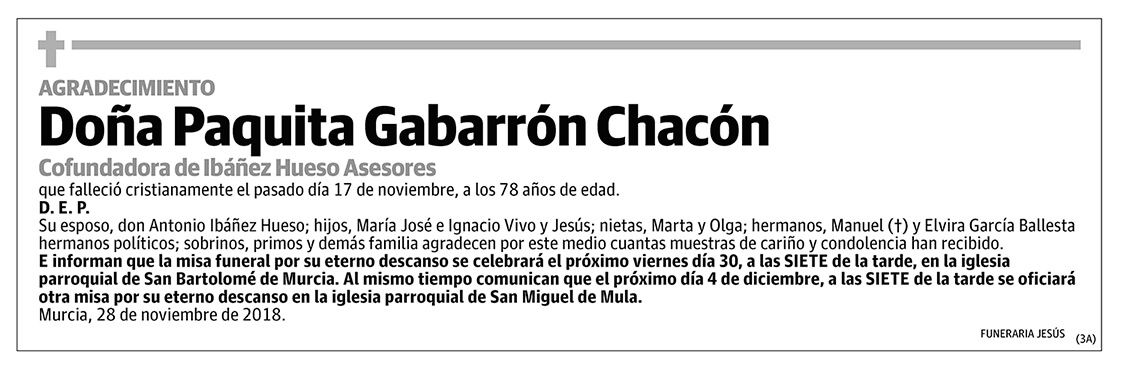 Paquita Gabarrón Chacón